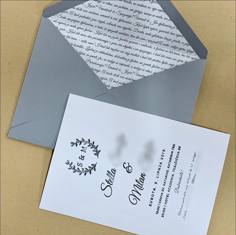 Pozivnica za vjenčanje i koverta