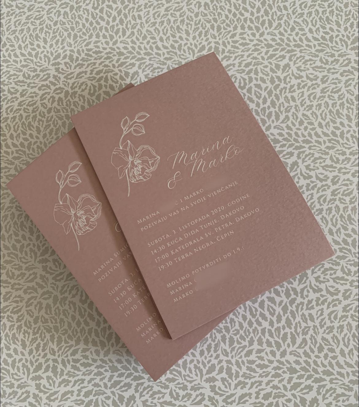 Pozivnice bijeli tisak na rozom papiru